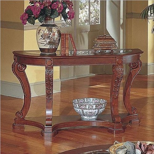 Steve Silver Canterbury Etched Glass Cherry Sofa Table, Etched Glass