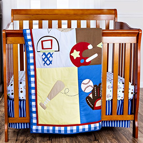 Dream On Me Little Athlete 3 Piece Crib Set, Red/Multi - 1