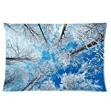 Tt-shop Soft Zippered Pillowcase Pillow case Cover 16*24 Inch (One Size) Frozen Trees Forest Blue Sky Fashion Design
