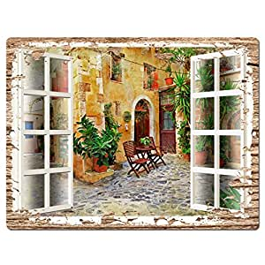 French Window Scenery Chic Sign Rustic Vintage Retro Kitchen Bar Pub Coffee Shop Wall Decor 9x12 Metal Plate