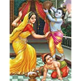 "Dolls Of India ""Yashoda, Krishna And Balaram"" Reprint On Paper - Unframed (27.94 X 22.86 Centimeters)"