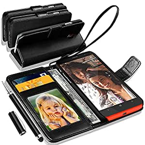 GBOS NOKIA LUMIA MICROSOFT 640 Rich Leather Stand Wallet Flip Case Cover Book Pouch ( Premium Quality) Leather Case Card slot With 2 IN 1 Touch Stylus Pen Black