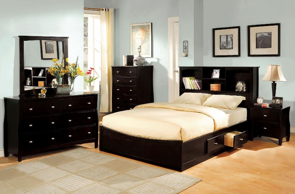 FA Furnishing Lawfranc Captains Storage Queen Bed - Espresso