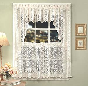 Hopewell Lace Kitchen Curtain 24 Tier Pr Cream Home Kitchen