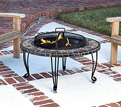 Amazonbasics Natural Stone Fire Pit With Copper Accents 86 Cm 34 Inches by AmazonBasics