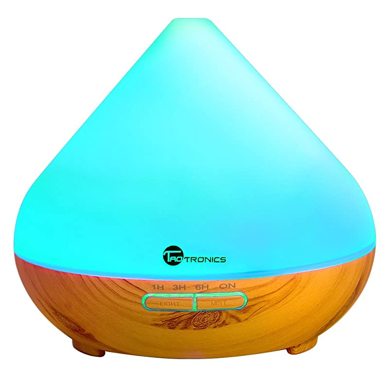 TaoTronics Essential Oil Diffuser, 300ml Wood Grain Aroma Diffuser with Cool Mist and 7 Colors ( Aromatherapy Diffuser + Ultrasonic Aroma Humidifier, Mist and Light Control, Timer + Auto Shut-off ) via Amazon