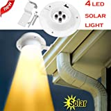 SHJNHAN New 4 LED Solar Lamp, Powered Gutter Light Outdoor Garden Yard Wall Fence Pathway Lamp (Color: White, Tamaño: 12 x 6 cm)