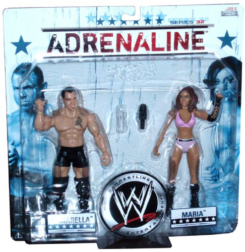 Buy Low Price Jakks Pacific World Wrestling Entertainment WWE Series 32 Adrenaline 2 Pack 7 Inch Tall Wrestler Action Figure – Santino Marella and Maria Kanellis (WWE Diva) with Microphone (B0036ZJJGC)