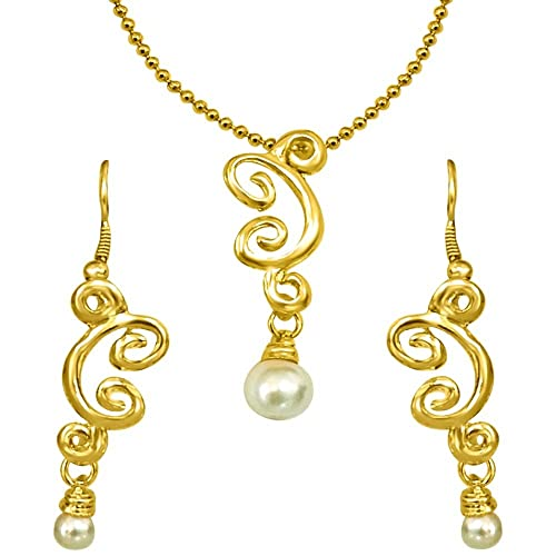 Surat Diamonds Trendy Imitation Shell Pearl & Gold Plated Pendant with Chain & Earring Set for Women  SDS150  available at Amazon for Rs.139