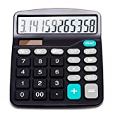 Calculator, 12-Digit Solar Battery Basic Calculator, Solar Battery Dual Power Office Calculator, with Large LCD Display and Large Buttons (Battery Inc