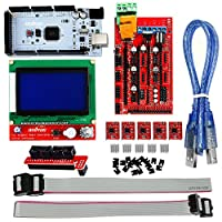 OSOYOO 3D Printer Controller Kit RAMPS 1.4 + Mega 2560 R3 + 5pcs A4988 Stepper Motor Driver with Heatsink + LCD 12864 Graphic Smart Display Controller with Adapter For Arduino RepRap by Shenzhen vership Co. LTD
