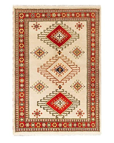 Hand-Knotted Royal Kazak Rug, Cream/Red, 5' 6 x 7' 10