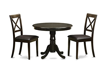 East West Furniture ANBO3-CAP-LC 3-Piece Kitchen Table, Cappuccino Finish