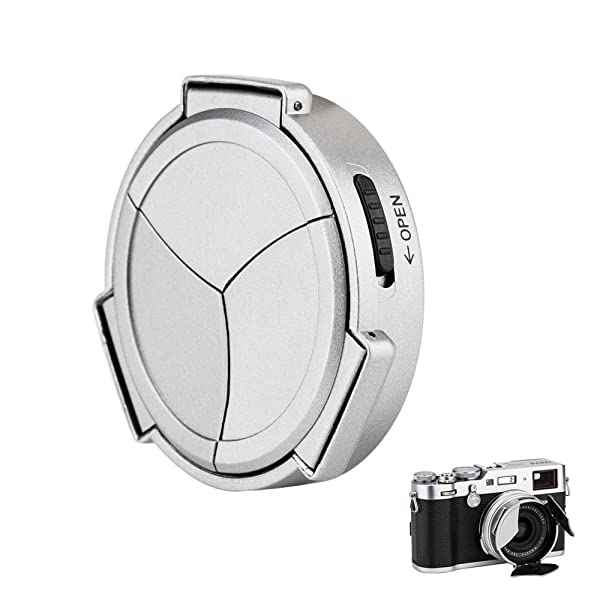 Auto Lens Cap Hood JJC Camera Automatic Lens Cap Cover Shade for Fujifilm Fuji X100F X100T X100S X100 X70 with 3 Auto Leaves -Silver (Color: Silver)