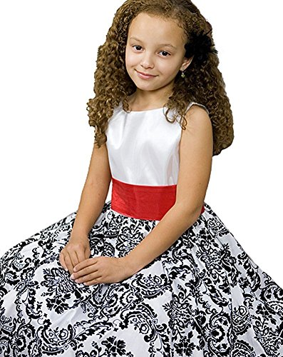 White with Black Velvet Special Occasion Dress w/ Removable Red Sash Girl 10