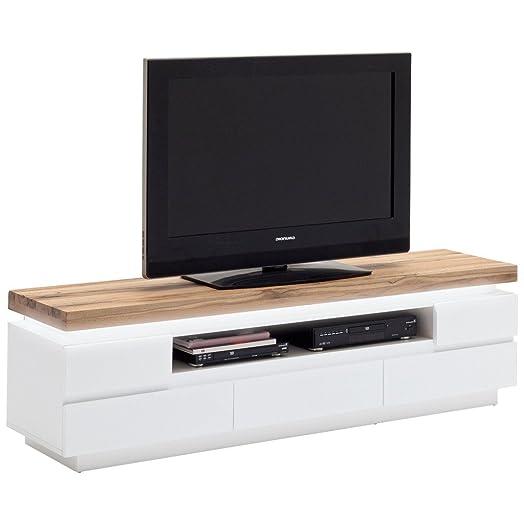tv-lowboard bianco opaco/QUERCIA SELVATICA massiccio