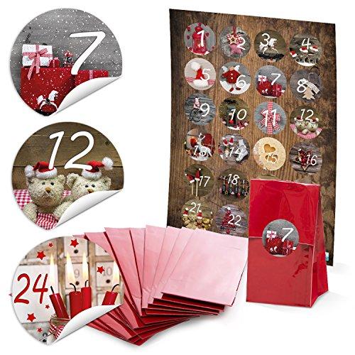 24 rote weihnachten geschenkt ten mit pergamineinlage 7 x. Black Bedroom Furniture Sets. Home Design Ideas