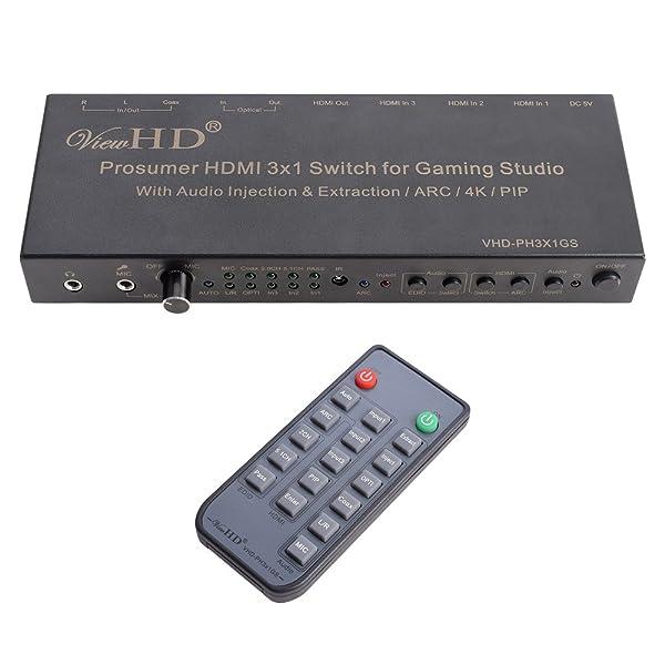 ViewHD Prosumer HDMI 3x1 Switch | 4K@30Hz HDMI v1.4 | MIC Audio Injection / Combiner | HDMI Audio Extractor | Optical / Coax / RCA L/R to HDMI Audio| ARC | Model: VHD-PH3X1GS (Color: 3x1 + Advanced Audio, Tamaño: v1.4 4K@30Hz)