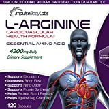 Essential Amino Acid. Cardiovascular Health. Endurance. Energy. Supports Circulation, Blood Flow, Nitric Oxide, Protein Synthesis, May Reduce Blood Pressure. L-Arginine 2100mg. 120 Capsules. USA.