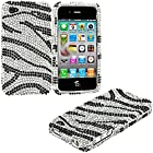 myLife (TM) Onyx and Diamond Zebra Stripes - Rhinestone Series (2 Piece Snap On) Hardshell Plates Case for the iPhone 4/4S (4G) 4th Generation Touch Phone (Clip Fitted Front and Back Solid Cover Case + Rubberized Tough Armor Skin)