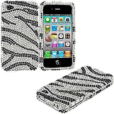 myLife Onyx and Diamond Zebra Stripes - Rhinestone Series (2 Piece Snap On) Hardshell Plates Case for the iPhone 4/4S (4G) 4th Generation Touch Phone (Clip Fitted Front and Back Solid Cover Case + Rubberized Tough Armor Skin)