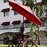 Abba Patio 9 Ft Outdoor Table Patio Umbrella with Push Button Tilt and Crank, 8 Steel Ribs, Red