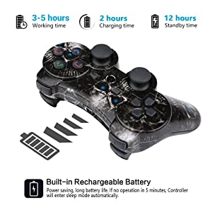 CHENGDAO PS3 Controller Wireless 2 Pack Double Shock Gamepad for Playstation 3 Remote,Six-axis Wireless PS3 Controller with Charging Cable (Skull + Galaxy) (Color: Skull + Galaxy)