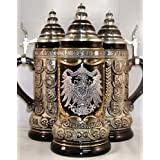 German Eagle Pewter Relief with State Crests German Beer Stein .75L