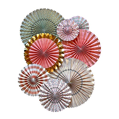 My Mind's Eye Trend Style Party Fans, 8 Count, Pink, Aqua, White, and Gold (Decorative Fan Pink compare prices)