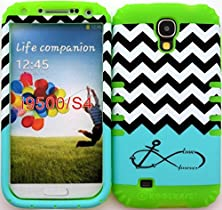 buy Wireless Fones Tm High Impact Hybrid Rocker Case For Samsung Galaxy S4 Iv I9500 Galaxy Blue Block Chevron With Infinity Anchor Plastic Cover On Lime Silicone