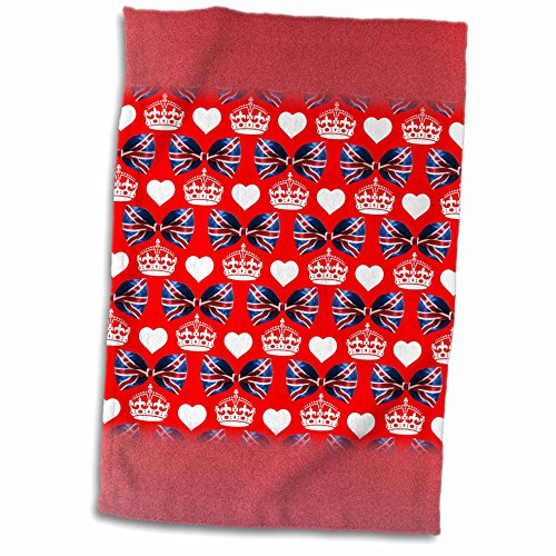 3dRose Russ Billington Patterns - British Union Jack Bow Ties, Crowns and Hearts on Red Background - 12x18 Towel (twl_220413_1) (Tie On Dish Towels compare prices)
