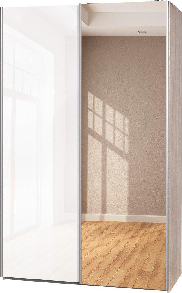 Schwebetürenschrank Soft Plus Smart Typ 42″, 120 x 194 x 61cm, Eiche/Weiß hochglanz/Spiegel