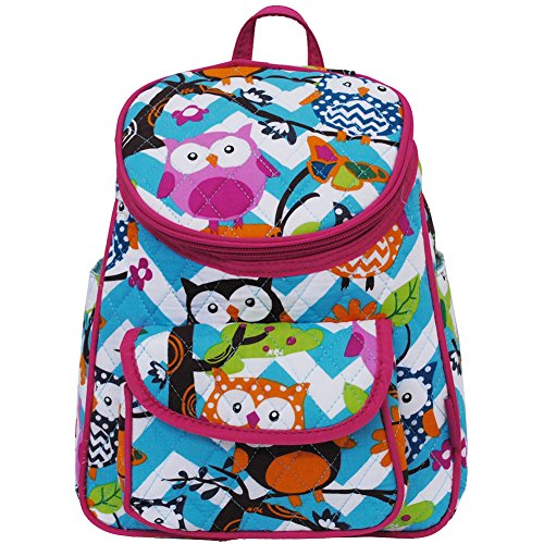 Aqua & White Owl Chevron Print Quilted Small Mini Back Pack (Hotpink)