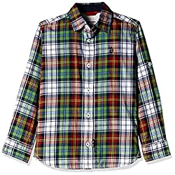 US Polo Association Boys Shirt (UKSH5480_Melange Green_8 - 9 years)