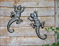 Pair of Black Metal Gecko Wall Art for the Garden or Patio