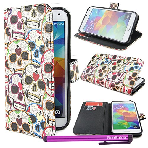 Beeshine Retail Package Pu Leather Flip Stand Card Holder Wallet Case Flap Pouch Cover Skin W/ Lcd Film Screen Protector & Touch Stylus Pen For Samsung Galaxy S5 / Sv /G900 (Cool Head Skull Style)