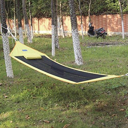 breathable cotton canvas hammock portable without stent-Yellow