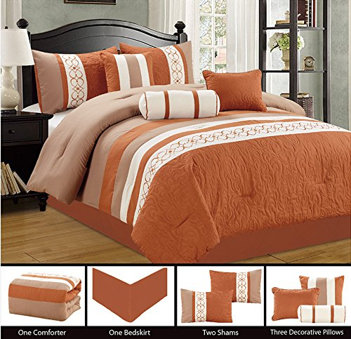 Modern-7-Piece-Bedding-Spice-Brown-Taupe-Off-White-Emboidered-and-Quilted-QUEEN-Comforter-Set-with-accent-pillows
