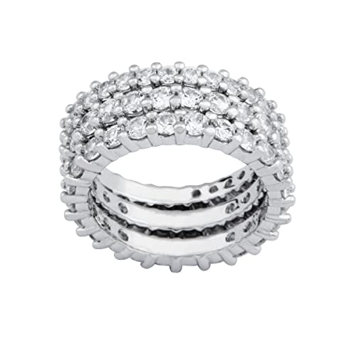 Sterling Silver Simulated Diamond Stacking Eternity Band, Size 6 $39.00