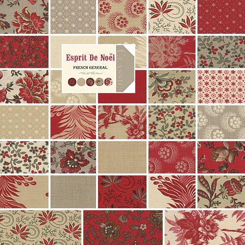 Moda French General Esprit de Noel Charm Pack, Set of 42 5-inch (12.7cm) Precut Cotton Fabric Squares