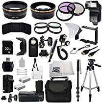 The EVERYTHING YOU NEED Package kit for the Canon EOS Rebel 550D, 600D, 650D, 700D, T2i, T3i, T4i and T5i Digital SLR Cameras -BUNDLE - Includes Wide Angle & Telephoto Lenses, Filters, Batteries, Flash, Tripod, Monopod, Case, 32GB Memory Card, Dual Neck Strap & Much Much More!