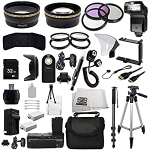 The EVERYTHING YOU NEED Package kit for the Canon EOS Rebel 550D, 600D, 650D, 700D, T2i, T3i, T4i and T5i Digital SLR Cameras -BUNDLE - Includes Wide Angle & Telephoto Lenses, Filters, Batteries, Flash, Tripod, Monopod, Case, 32GB Memory Card & Much Much More!