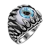 Men's Stainless Steel Devil Eye Ring Ring Vintage Gothic Skull Dragon Claw Evil Blue Eye (11)