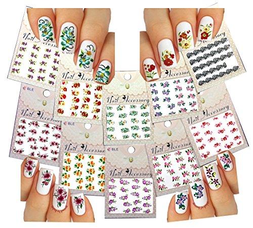 unghie acqua tatuaggio adesivi - fiori fiori, pizzo nero e più confezione da 10 // Water Nail Tattoo Stickers - Blossom Flowers, Black Lace & More 10- pack