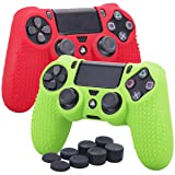 YoRHa Studded Silicone Cover Skin Case for Sony PS4/slim/Pro controller x 2(red+green) With Pro thumb grips x 8 (Color: red&green, Tamaño: studded pack)