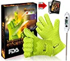 Seafire BBQ Thermometer & Glove Set, 1 Wireless Remote Instant Read Digital Thermometer with Probe Best Meat Candy Monitors & 1 Pair 10 Finger Free Grill Cooking Gloves Protect Hands From Heat(green)