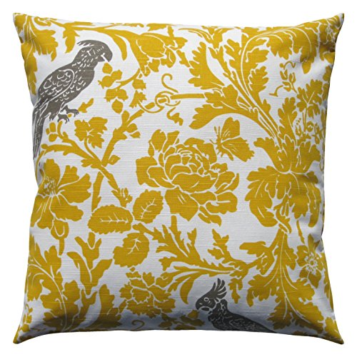 Cotton Throw Pillow Inserts : JinStyles Cotton Canvas Parrot Accent Decorative Throw Pillow Cover (Yellow & White - Square ...