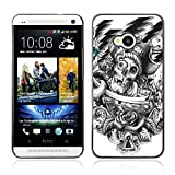 A-type Colorful Printed Hard Protective Back Case Cover Shell Skin for HTC One (M7) ( Vintage Skull Pirate Tattoo )