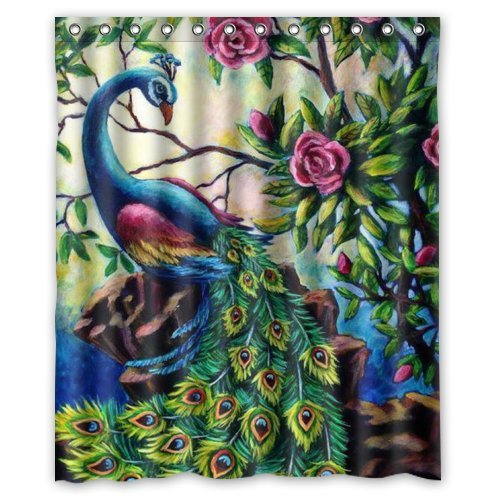 60 X72 Inches Artistic Paintings Graceful Peacock Shower