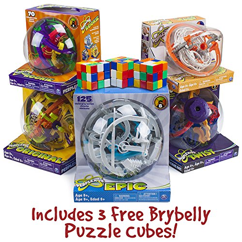 Supreme Perplexus Gift Package: Includes Original, Rookie, Epic, Twist & Warp Maze Games w/ 3 Free Brybelly Puzzle Cubes